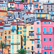 Colorful houses in Provence village Menton - saturated — Stock Photo