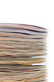 Stack of magazins on a white background — Stock Photo