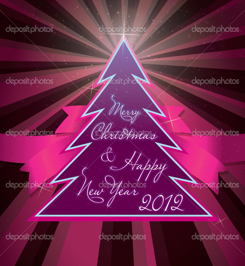 Cristmas greeting card template on a purple background — Stock Vector #7242943