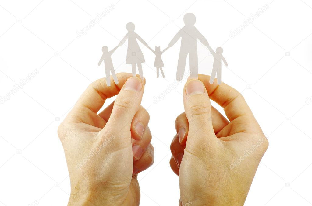 Paper family in hands isolated on white background — Stock Photo #7099143
