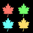 Red, green, blu and orange maple leaf. - Stock Photo