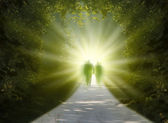 Walk into light — Stockfoto