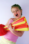 Girl with horn — Stock Photo