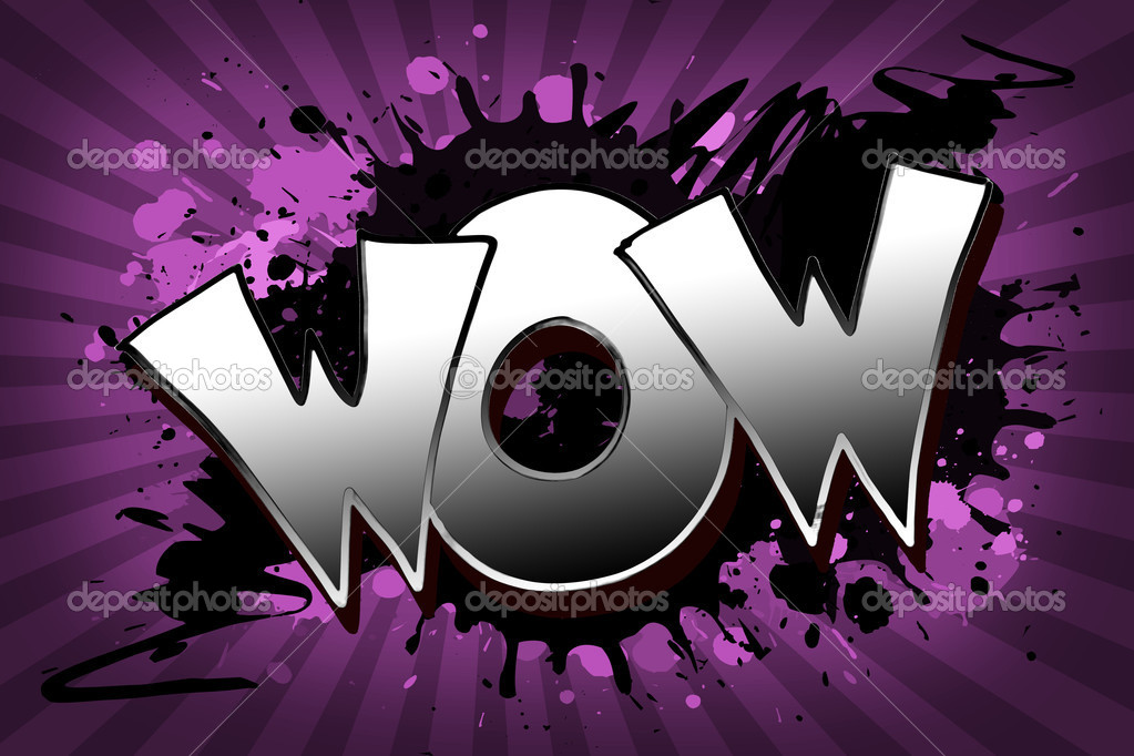 The word wow as a grungy colorfully painting — Stock Photo #7124129