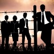 Manager behind Barbed wire - Stock Photo