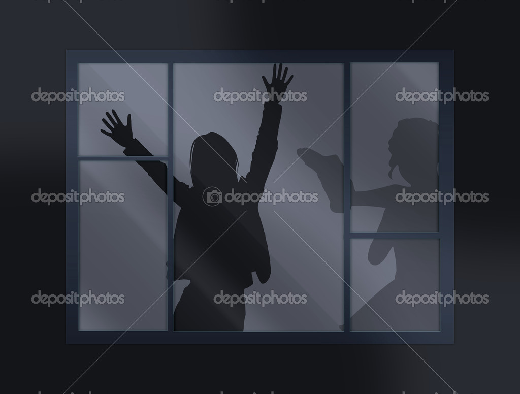 Crying loud help behind the closed window — Stock Photo #7151938