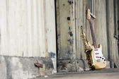 Old guitar and sax — Stock Photo