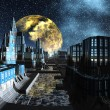 Stock Photo: Starry Night Over An Alien City - Science Fiction Scene Part 2
