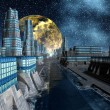 Starry Night Over An Alien City - Science Fiction Scene Part 4 — Stock Photo