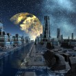 Starry Night Over An Alien City - Science Fiction Scene Part 5 — Stock Photo