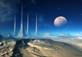 Andia's Pylons - Alien Planet 03 — Stock Photo