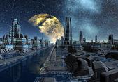 Sternennacht über eine fremde Stadt - Science Fiction-Szene-Teil 5 — Stockfoto