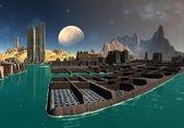 чужой город на sudor - фэнтези планеты часть 03 — Стоковое фото