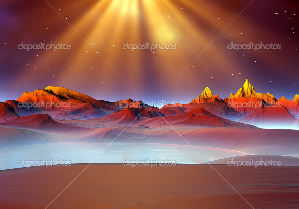 Alien planet - scene with mystic light, rolling hills and water — Stock Photo #7197228
