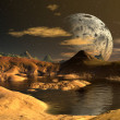 Stock Photo: Yellow Moon - Alien Planet -01