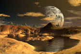 Yellow Moon - Alien Planet -01 — Stock Photo