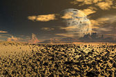 Yellow Moon - Alien Planet -02 — Stock Photo