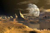 Yellow Moon - Alien Planet -04 — Stock Photo
