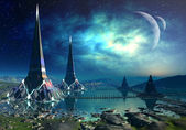 The Towers Of Gremor - Alien Planet 03 — Stock Photo