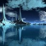 Rocket City on an Alien Planet 04 — Stock Photo