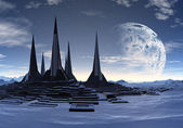 Rocket City on an Alien Planet 01 — Stock Photo