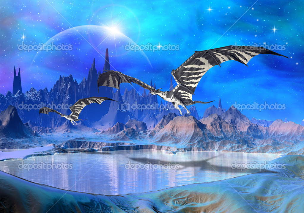 Fantasy world with dragons   Stock Photo #7788859