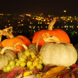 Harvested fresh vegetables and fruits at night — Stock Photo