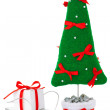 Fir tree with gift box on sled — Stock Photo