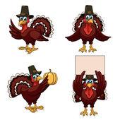 Thanksgiving turkeys set — Stock Vector