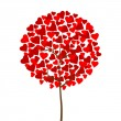 Red hearts love tree — Imagen vectorial