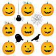 Halloween pumpkins and design elements — Stock Vector