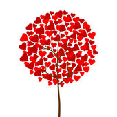 Red hearts love tree — Vettoriale Stock
