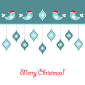 Christmas birds vector background — Stock Vector