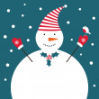 Christmas snowman card — Vettoriali Stock