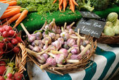 Fresh garlic bulbs for sale — Stock Photo