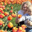 Mother and child picking a flower — Stock Photo