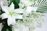 Lily bouquet on white — Stock Photo