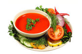 Tomato soup with vegetables — Stock Photo