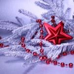 ramo da árvore de Natal com decoração — Foto Stock