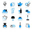 Home work and equipment icons — Stock Vector