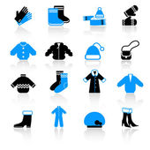 Winter clothes icons — Stock Vector