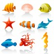 Sea fauna — Stock Vector