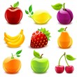 Glossy fruit set — Vektorgrafik