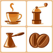 Coffee and accessories icons — Stock Vector