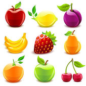 Glossy fruit set — Vector de stock