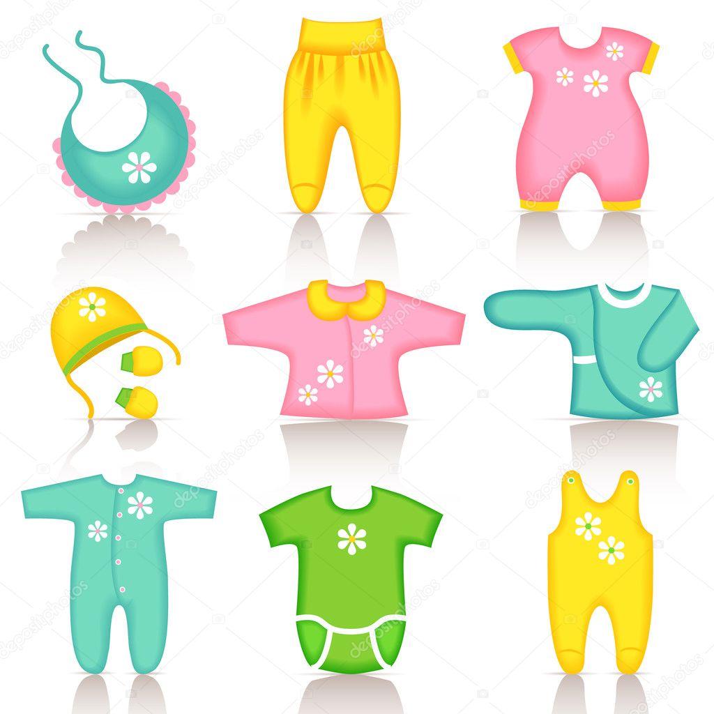 Iconos de ropa de beb 233 vector de stock 169 colorlife 7328131