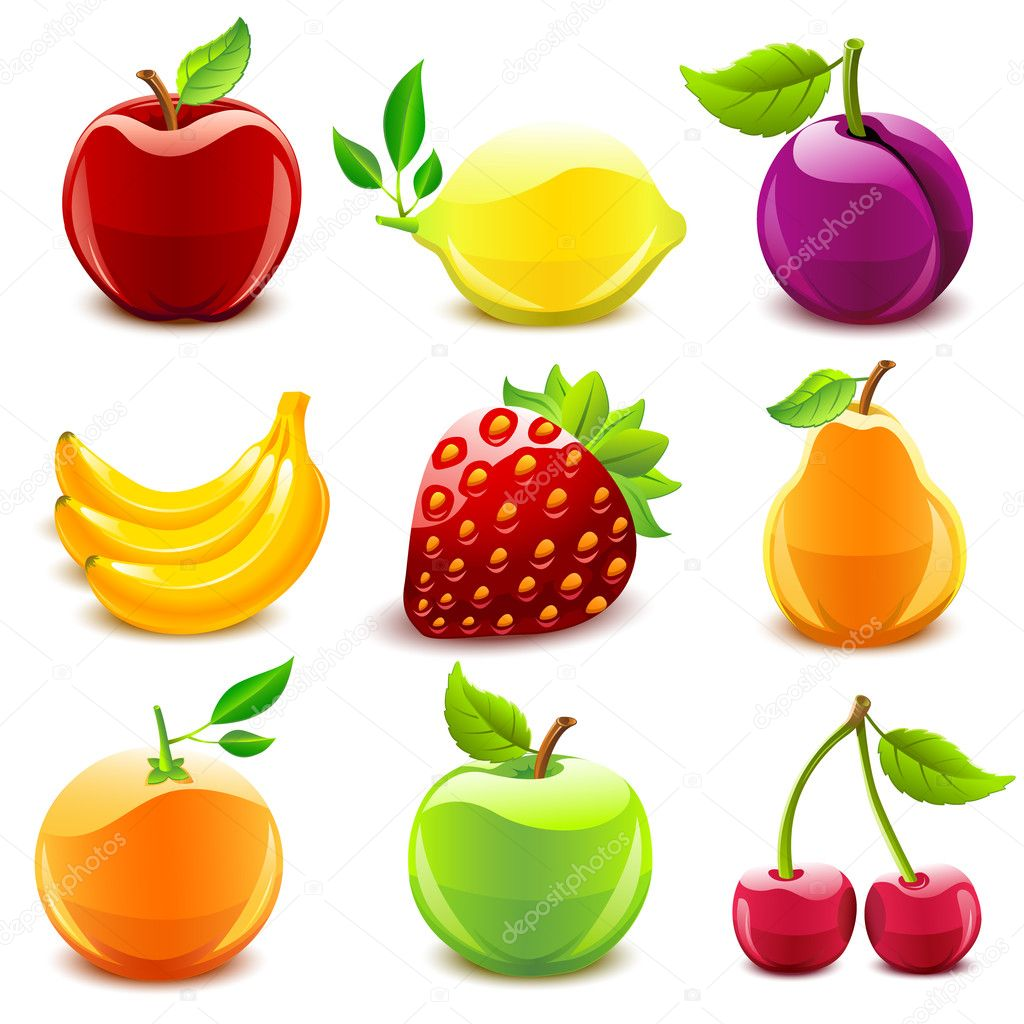 Glossy fruit set — Stock Vector #7328163