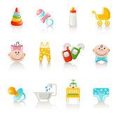 Baby kleding en accessoires pictogrammen — Stockvector