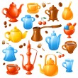 Coffee, tea set - Stock Vector