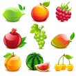 Stock Vector: Glossy fruit set
